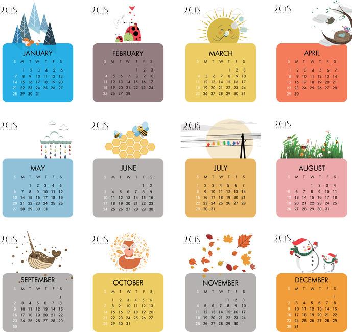 2018 Calendar with Symbols for each Season Vector EPS
