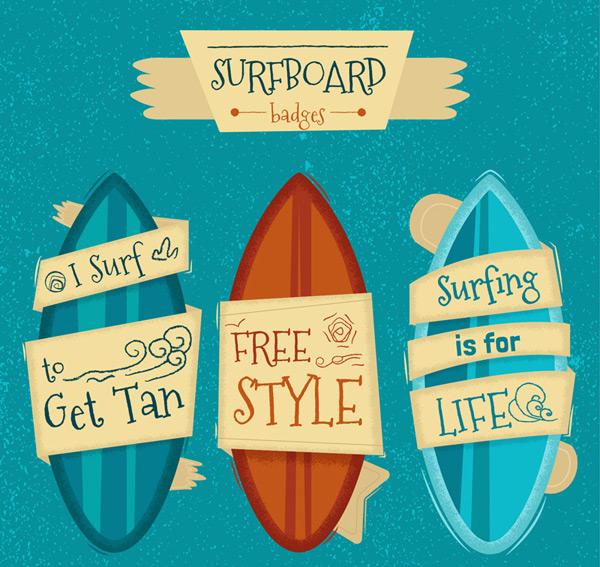 3 cartoon surfboards Vector AI