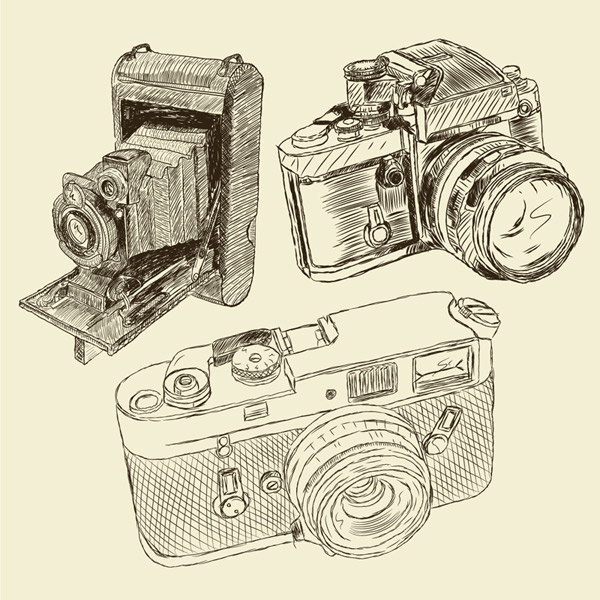 3 hand-painted camera Vector AI