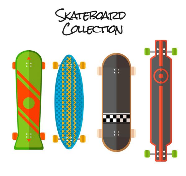 4 fashionable skateboards Vector AI