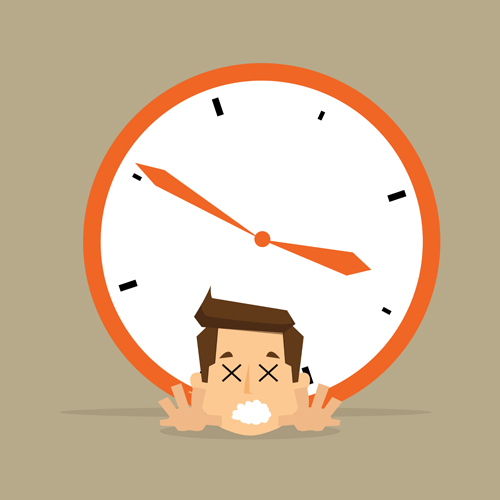 Alarm clocks and business people Vector EPS