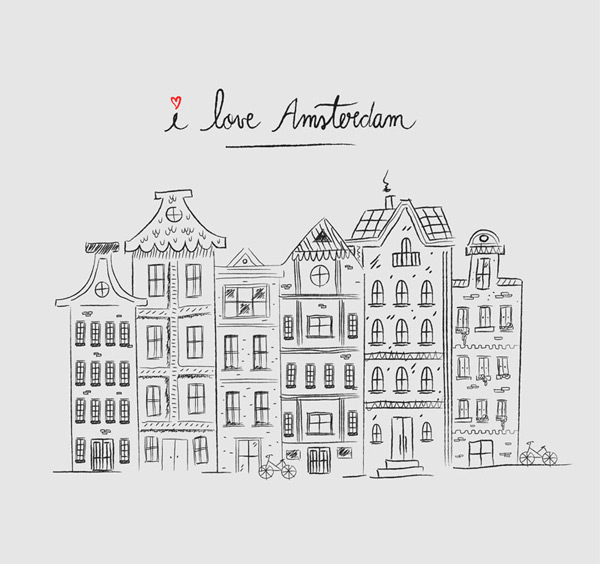 Amsterdam architecture Vector AI