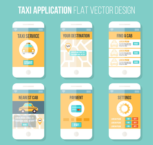 Application design of mobile phone a taxi Vector AI