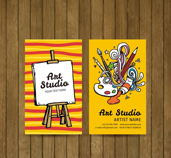 Art Studio business card Vector AI