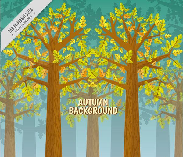 Autumn forest landscape Vector AI