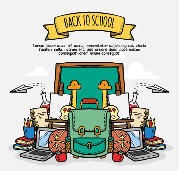 Back to school supplies Vector AI