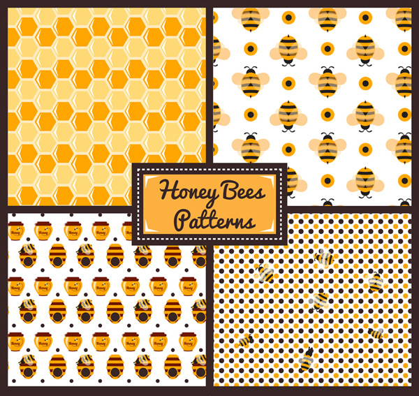 Bee elements seamless background vector