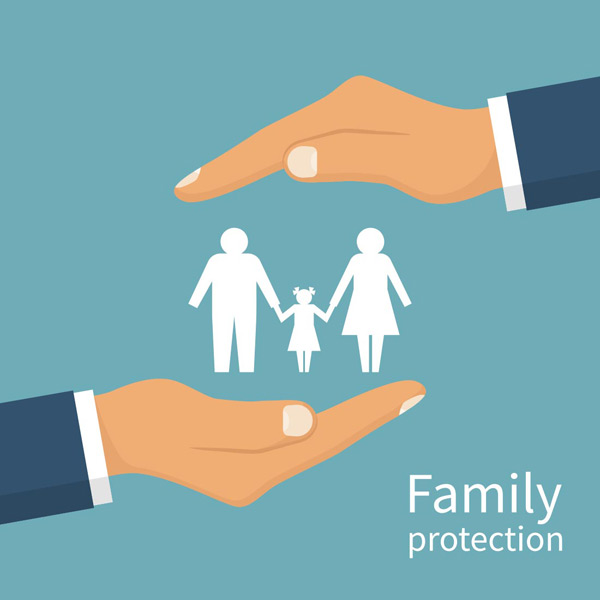 Between your hands the family silhouette Vector EPS