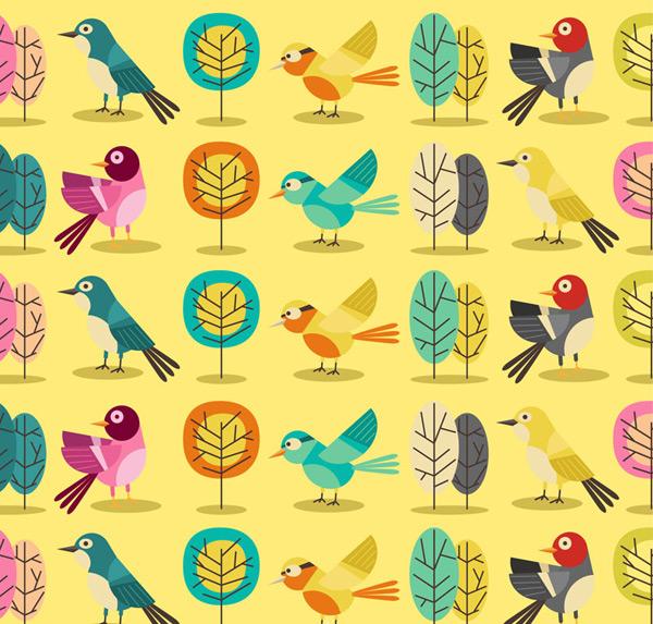 Bird seamless background Vector AI