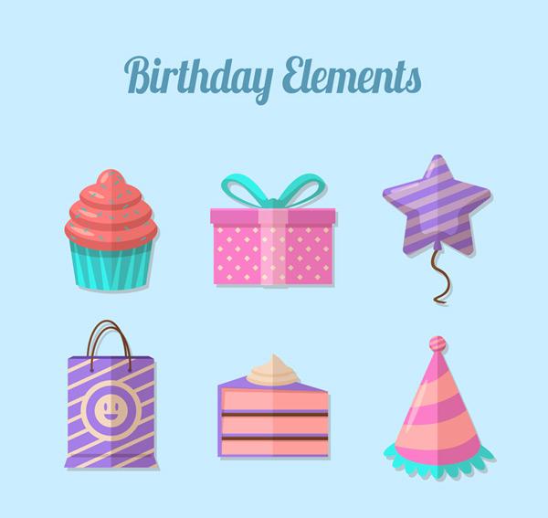 Happy Birthday Elements Vector Set
