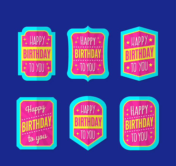 Birthday labels Vector AI