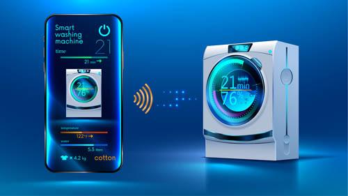 Black intelligent washing machine Vector EPS