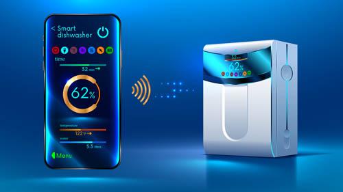 Black technology smart dishwasher Vector EPS