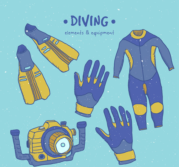 Blue diving supplies Vector AI