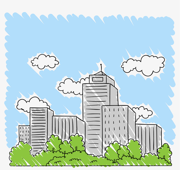 Blue Sky City buildings Vector AI