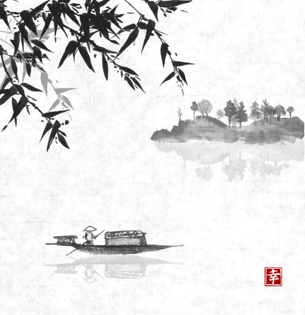 Boat on the River ink Vector AI