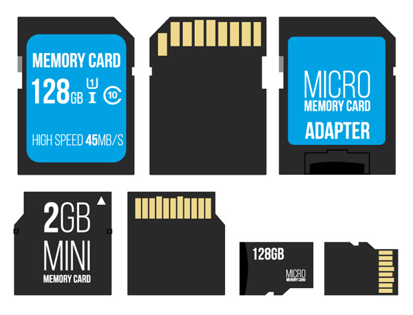 Both sides of the memory card Vector EPS