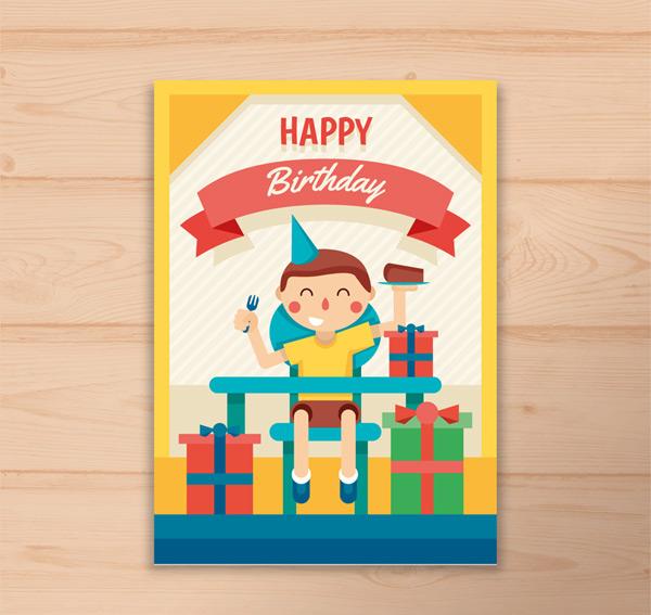Boy birthday card Vector AI