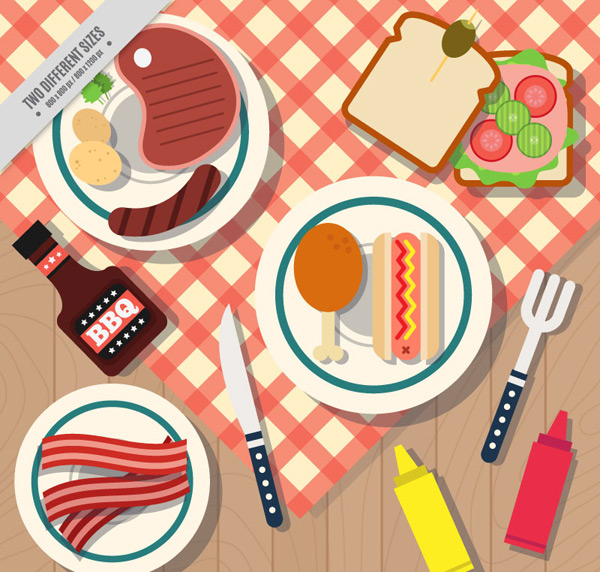 Breakfast food top view Vector AI