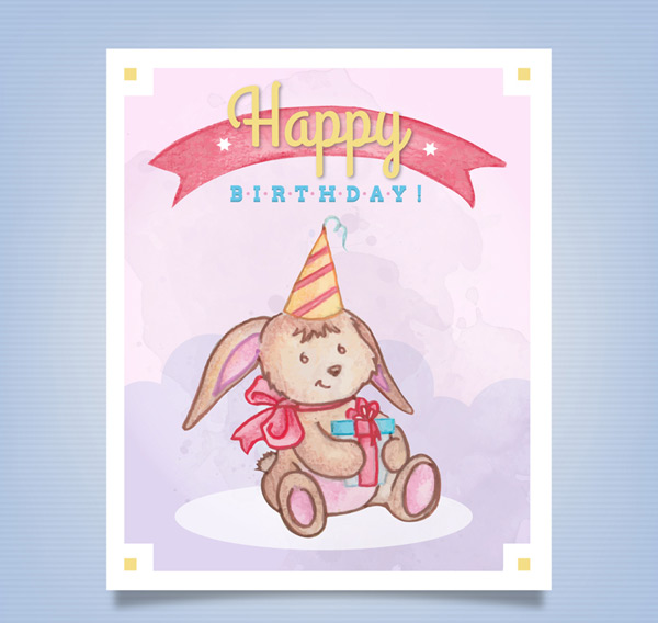 Bunny birthday card Vector AI