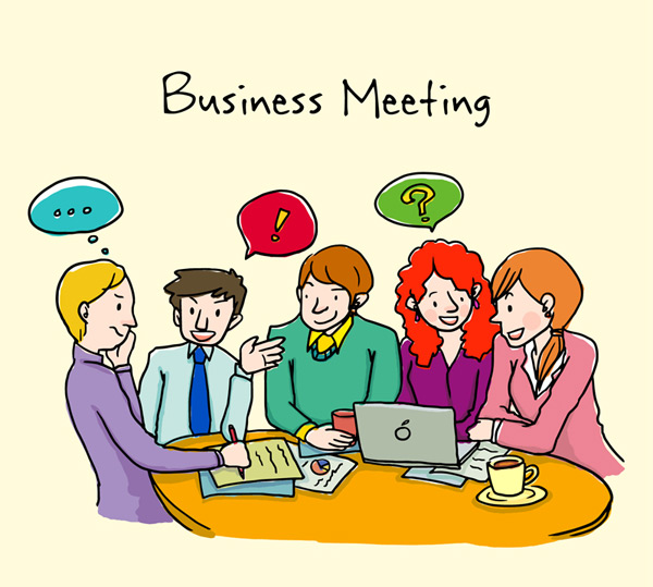 Business meeting characters Vector AI