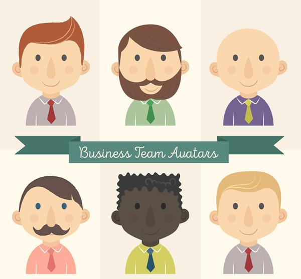 Business team guy head Vector AI