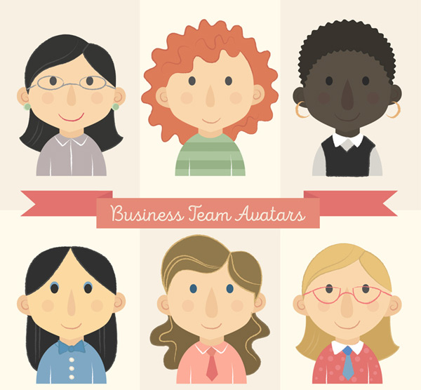 Business team woman portrait Vector AI