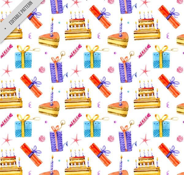 Cake and gift box background vector