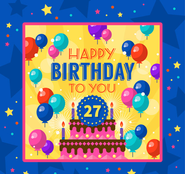 Cake birthday card Vector AI