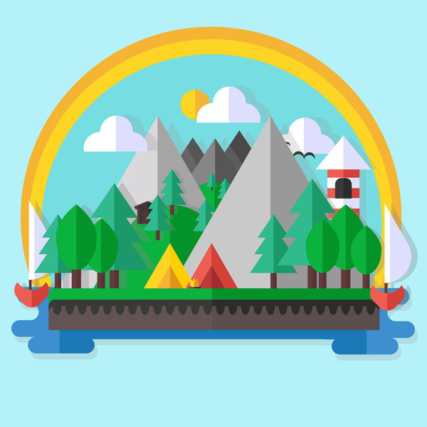 Camping in the countryside landscape Vector AI