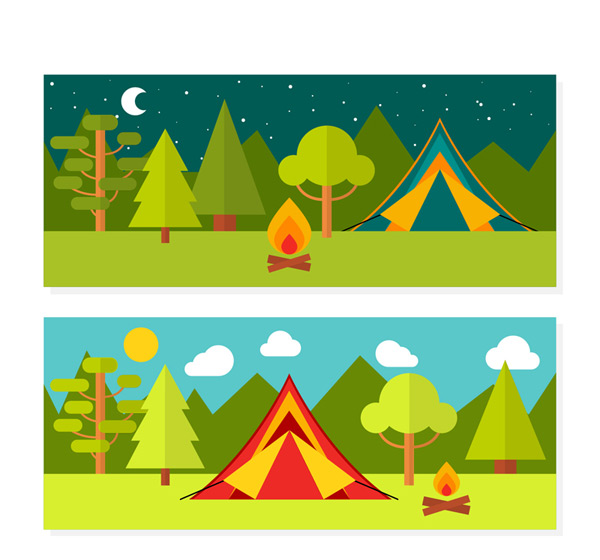 Camping scene banner Vector AI