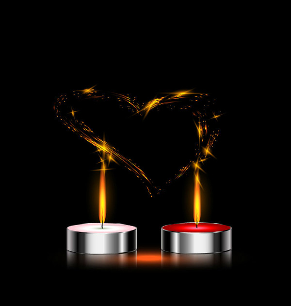 Candles and love Vector EPS