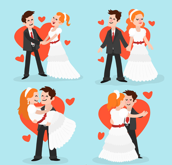 Cartoon bride and groom Vector AI