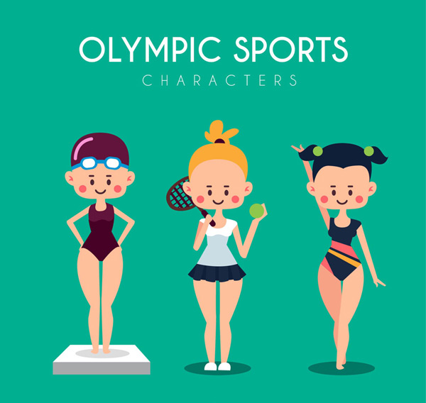 Cartoon female athletes Vector AI