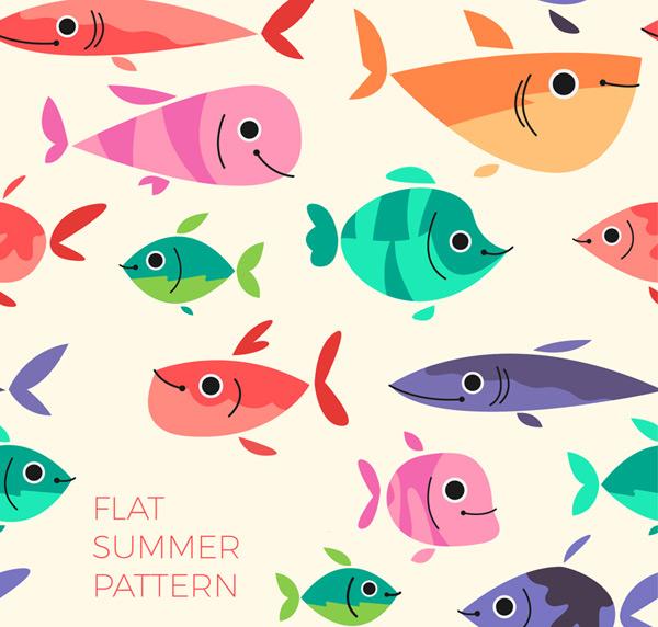 Cartoon fish seamless background Vector AI