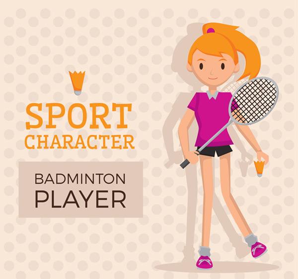 Cartoon girls badminton Vector AI