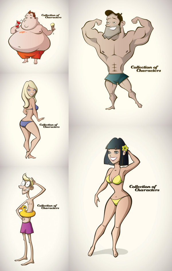Cartoon summer swimsuit figure Vector EPS