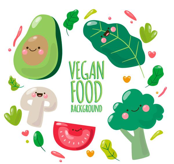 Cartoon vegetarian food Vector AI