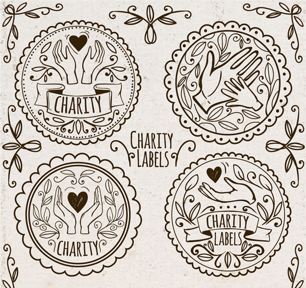Charity labels Vector AI