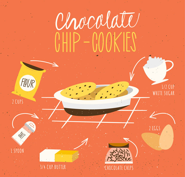 Chocolate chip cookies Vector AI
