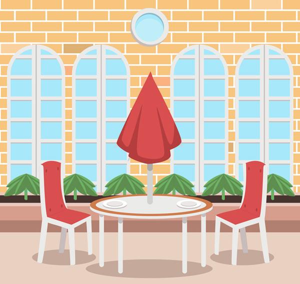 Clean outdoor restaurant Vector AI