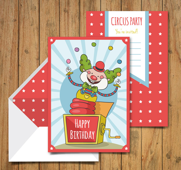 Clown Happy Birthday Card Vector