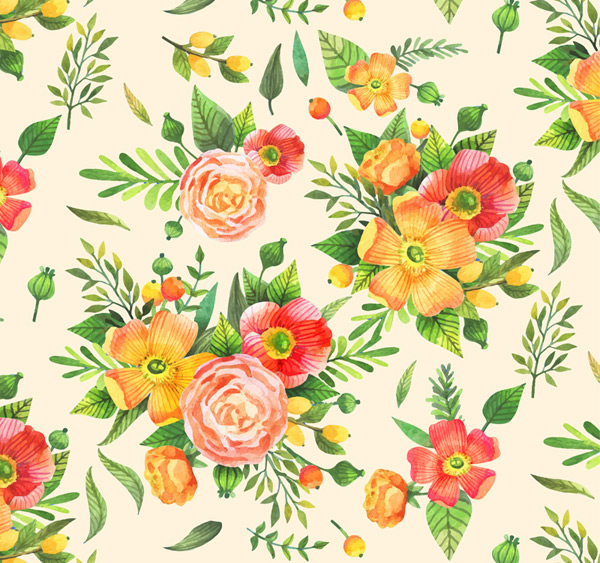 Color bouquet seamless background Vector AI