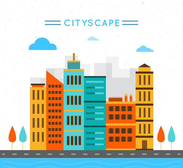 Color city complex Vector AI