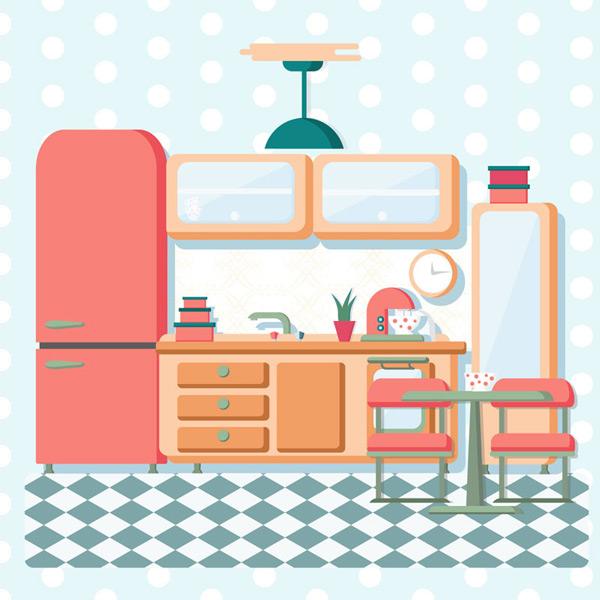 Color clean kitchen Vector AI