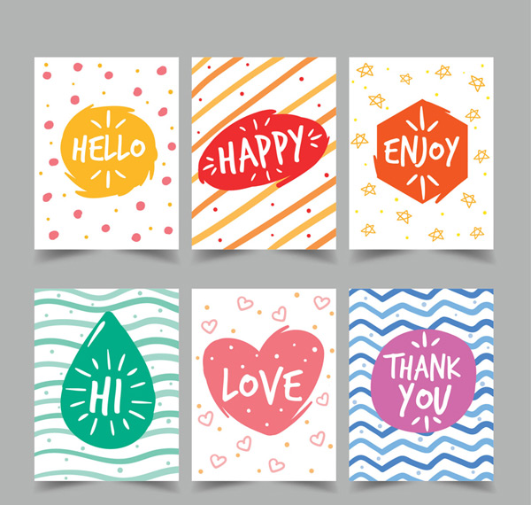 Color greeting cards Vector AI