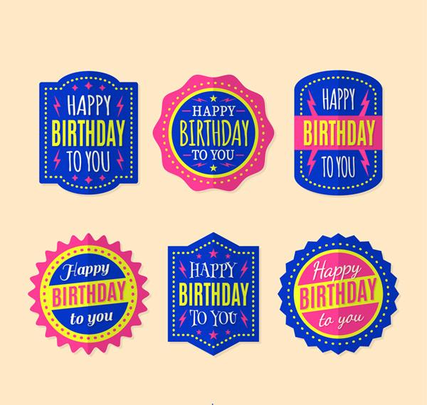 Color happy birthday labels Vector AI