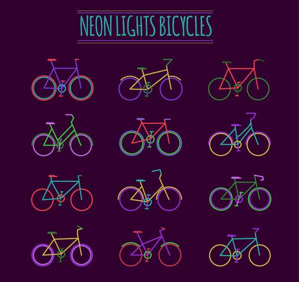 Color neon bike vector
