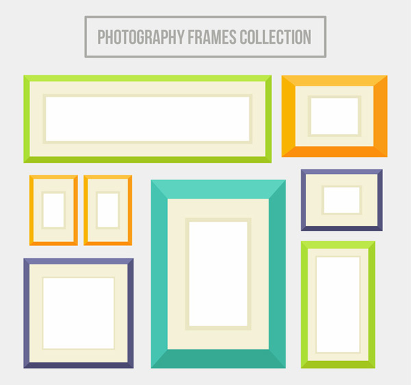 Color photo wall frame vector