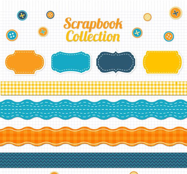Color Scrapbook elements vector
